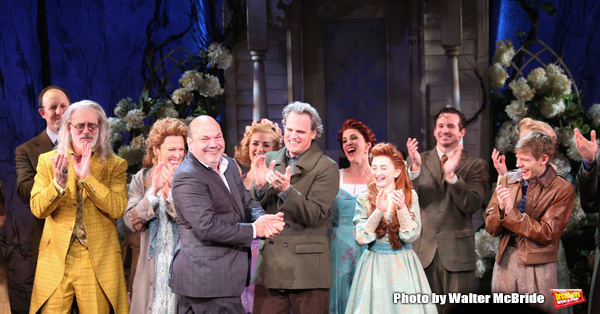 Terrence Mann, Carolee Carmello, Casey Nicholaw, Michael Park, Sarah Charles Lewis, Andrew Keenan-Bolger with the cast