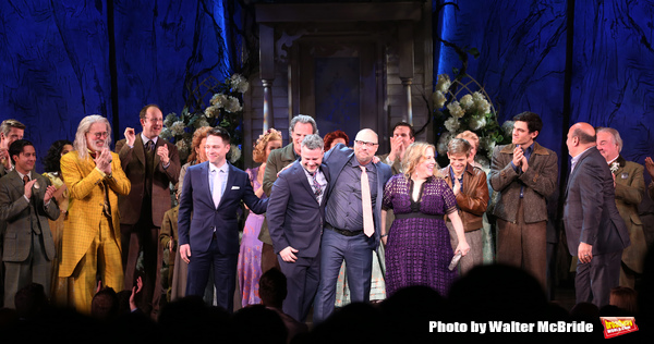 Terrence Mann, Carolee Carmello, Tim Federle, Michael Park, Chris Miller, Nathan Tysen, Claudia Shear, Andrew Keenan-Bolger, Robert Lenzi and Casey Nicholaw with the cast