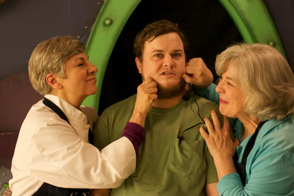 Betty Mitchell as Dolly, Pat Bell as Izzy, and Dylan Parker Singletary as Stephen Bid Photo