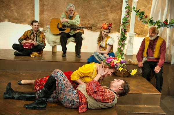 Nora Eschenheimer as Perdita, Jeff Church as Florizel; (back) Alec Thibodeau as Musician, Eric Behr as Musician, Julia Bartoletti as Mopsa, Richard Donelly as Antigonus
