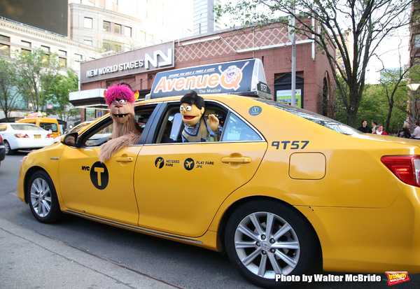 Trekkie Monster drives a New York City 'Avenue Q'  Taxi with Princeton as his passenger