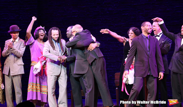 Amber Iman, Brandon Victor Dixon, Joshua Henry, Savion Glover, George C. Wolfe, Audra McDonald, Brian Stokes Mitchell, Daryl Waters during the Broadway Opening Night Curtain Call for 'Shuffle Along' at The Music Box Theatre on April 28, 2016 in New York C
