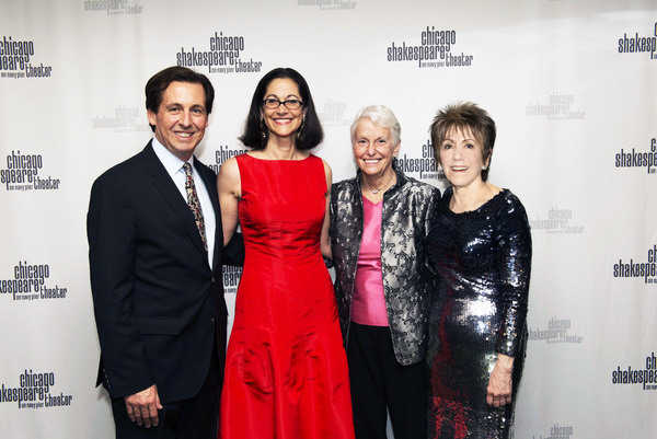 Chicago Shakespeare Executive Director Criss Henderson, Spirit of Shakespeare Honoree Anne Pramaggiore, CST Board of Directors Chair Sheli Z. Rosenberg and CST Artistic Director Barbara Gaines. Photo by Michael Brosilow.