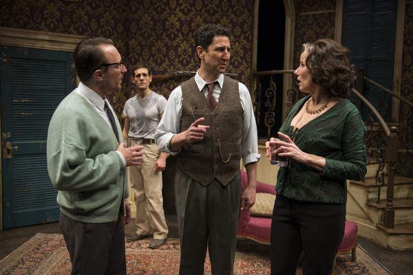 John Hoogenakker, Michael Perez (Stanley Kowalski), Sean Fortunato (The Stage Manager) and Karen Janes Woditsch (Martha)
