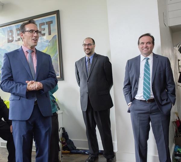 Jay Woffington, Brian Isaac Phillips, and Mayor John Cranley