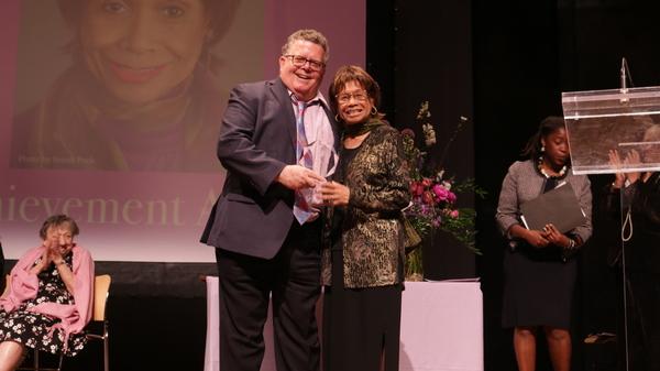 James Morgan presents the Lifetime Achievement Award to Micki Grant