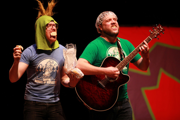 Barrel of Monkeys company members Rawson Vint and Curtis Williams perform 'Hot Dog Problems'