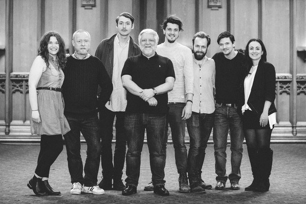 Simon Russell Beale with Emily Jane Kerr, Jim Conway, Kit Loyd, Oliver Towse, Chris Thomson, Boris Mitkov and Siobhain Daly