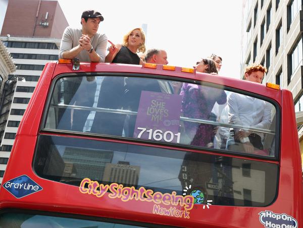 SHE LOVES ME Zachary Levi, Jane Krakowski, Tom McGowan, Laura Benanti and Nicholas Barasch attend as lyricist Sheldon Harnick unveils his 'Ride Of Fame' bus