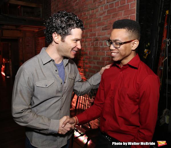 Thomas Kail greets a student performer