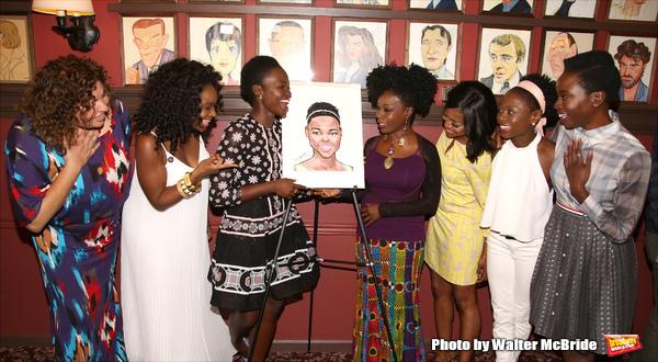 Lupita Lyong'o with  Liesl Tommy, Saycon Sengbloh, Akuosa Busia, Pascale Armand, Zainab Jah, and Danai Gurira