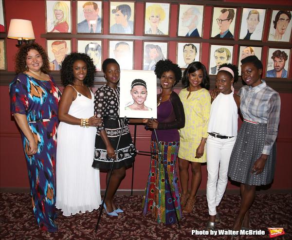 Lupita Lyong'o with Eclipsed director Liesl Tommy, cast members Saycon Sengbloh, Akuosa Busia, Pascale Armand, Zainab Jah, and playwright Danai Gurira