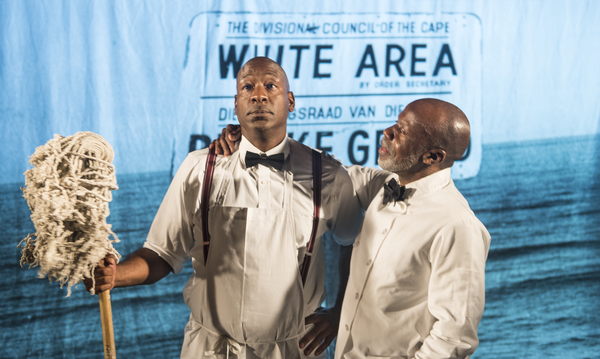 Willie (Adrian Roberts) and Sam (L. Peter Callender) discuss the state of affairs