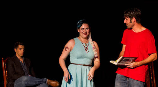 Nicholas McCartney as Matt Sloan, Lauren Ashleigh Morrison as Nessa Reilly and Daniel Drnach as Douglas Townshend in 'The Unavailable Man Magnet'Photo Credit: Brooke Jordan