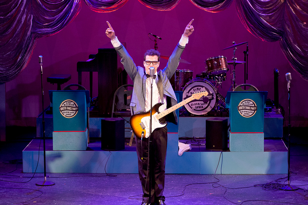 Michael Siktberg as Buddy Holly in 'BUDDY: The Buddy Holly Story' at Theatre By The Sea thru June 19. Photo by Steven Richard Photography