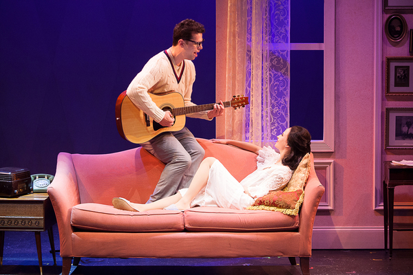 Michael Siktberg (center, Buddy Holly) and Beatriz Maranjo (Maria Elena Holly) in 'BUDDY: The Buddy Holly Story' at Theatre By The Sea thru June 19. Photo by Steven Richard Photography