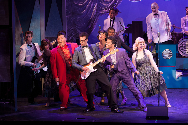 Michael Siktberg (center, Buddy Holly) with Jean-Pierre Ferragamo (The Big Bopper), and Albert Jennings (Ritchie Valens) and the cast of 'BUDDY: The Buddy Holly Story' at Theatre By The Sea thru June 19. Photo by Steven Richard Photography