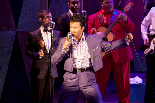 Albert Jennings (Ritchie Valens) with the cast of 'BUDDY: The Buddy Holly Story' at T Photo