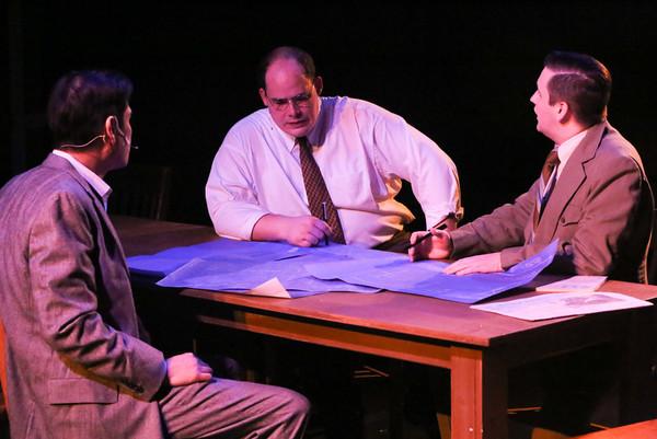 Reynaldo Arceno, Zachary Allen Farmer, and Sean Michael in New Line Theatre's ATOMIC. Photo credit: Jill Ritter Lindberg.