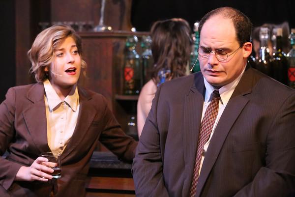 "Larissa White and Zachary Allen Farmer, singing ""Atom Smasher,"" in New Line Theatre's ATOMIC. Photo credit: Jill Ritter Lindberg."