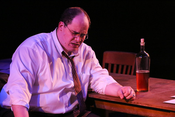 "Zachary Allen Farmer as Leo Szilard, singing ""Where is Home?"", in New Line Theatre's ATOMIC. Photo credit: Jill Ritter Lindberg."