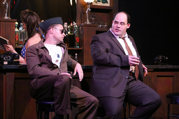 Jeffrey M. Wright as Paul Tibbets and Zachary Allen Farmer as Leo Szilard, in New Line Theatre's ATOMIC. Photo credit: Jill Ritter Lindberg.