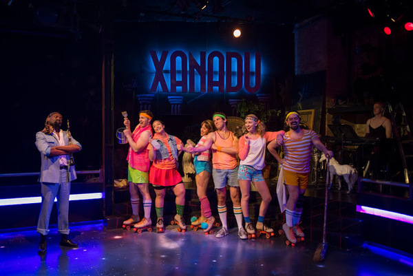 "Aaron Holland (Danny Maguire), James Nedrud (Terpsichore), Kasey Alfonso (Erato), Landree Fleming (Kira), Jim DeSelm (Sonny), Hanah Rose Nardone (Euterpe) and Daniel Spagnuolo (Thalia) in American Theater Company's production of ""Xanadu."" Image by Michael"