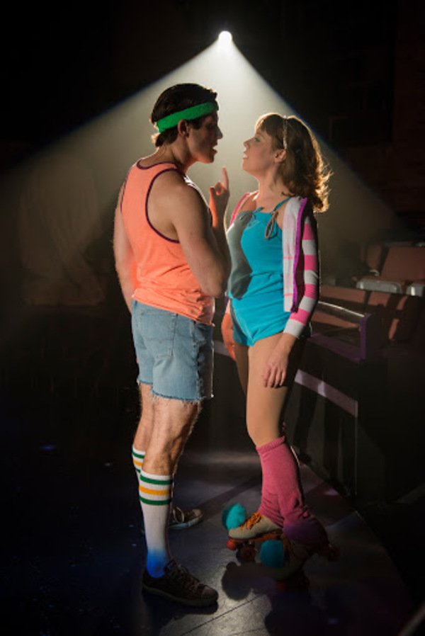 "Jim DeSelm (Sonny) and Landree Fleming (Kira) in American Theater Company's production of ""Xanadu."" Image by Michael Brosilow."
