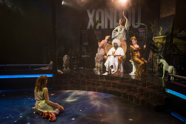 "Landree Fleming (Kira), Kasey Alfonso (Hera), Aaron Holland (Zeus), Hanah Rose Nardone (Thetis) and Missy Aguilar (Aphrodite) in American Theater Company's production of ""Xanadu."" Image by Michael Brosilow."