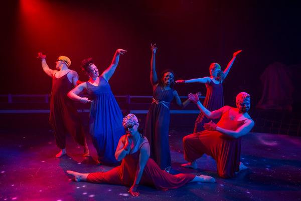 "James Nedrud (Siren), Missy Aguilar (Calliope), Kasey Alfonso (Siren), Karla L. Beard (Melpomene), Hanah Nardone (Siren) and Daniel Spagnuolo (Siren) in American Theater Company's production of ""Xanadu."" Image by Michael Brosilow."