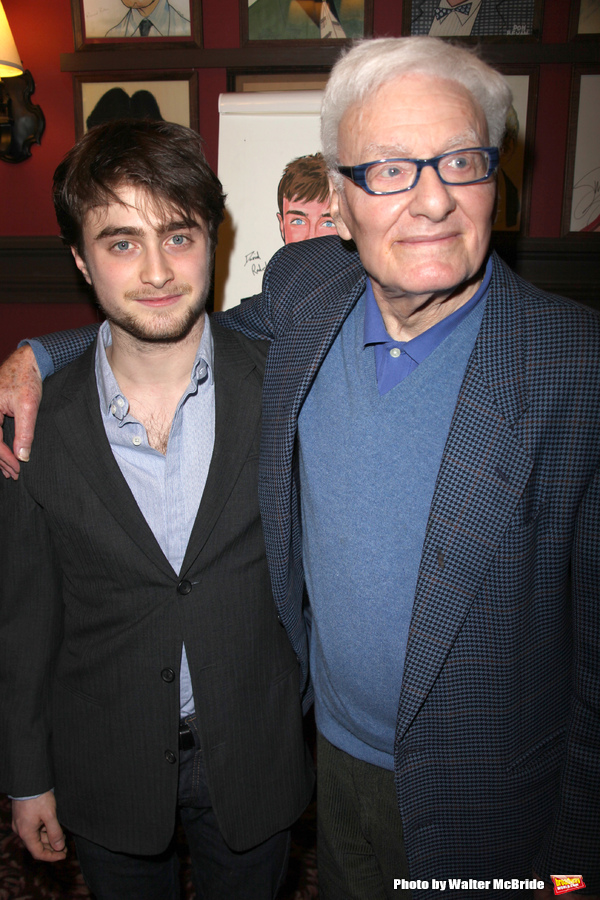 Daniel Radcliffe with Peter Shaffer (Playwright)  is honored with the beloved Sardi's Photo