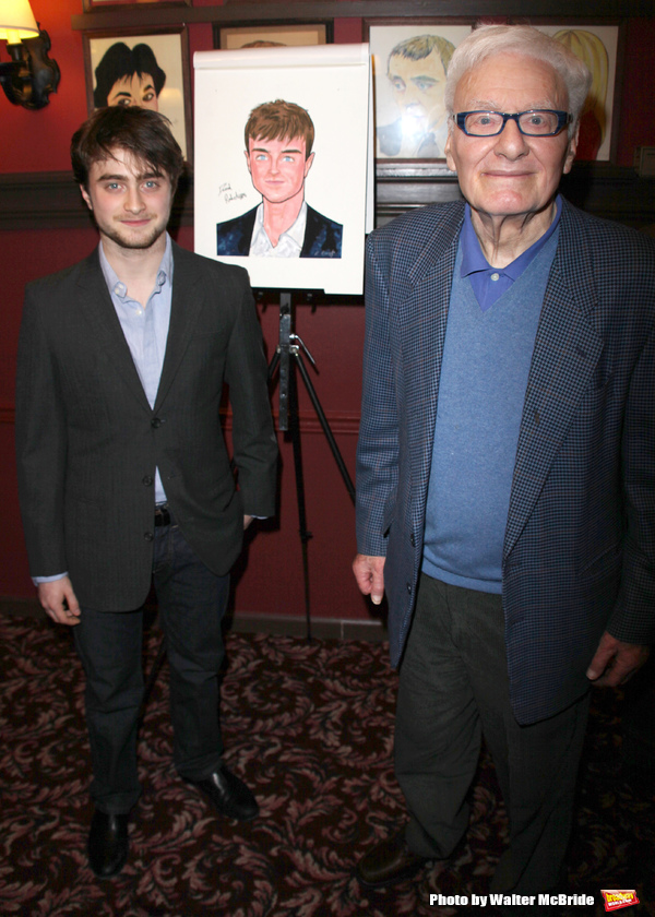 Daniel Radcliffe is honored with the beloved Sardi's caricature and joins the Stars Wall Of Fame, Sardi's Restaurant in New York City.(pictured with EQUUS playwright Peter Shaffer )January 29, 2009