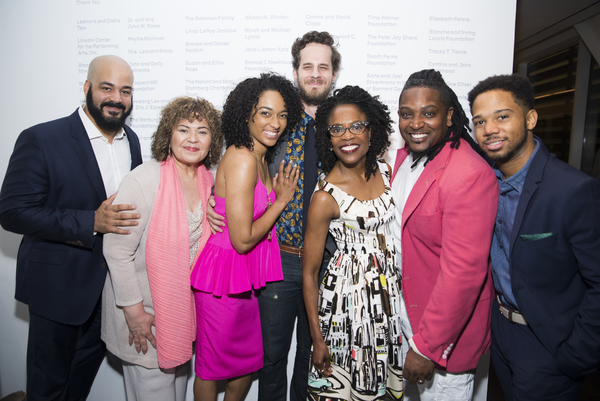 The company of War celebrates opening night (L to R: Austin Durant, Michele Shay, Rachel  Nicks, Reggie Gowland, Charlayne Woodard, Lance Coadie Williams, and Chris Myers)