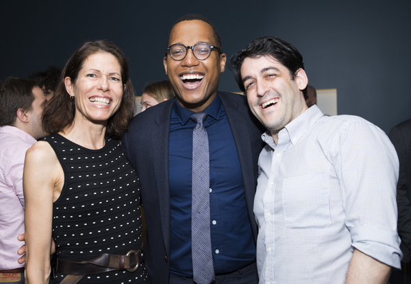Playwright Branden Jacobs-Jenkins (center) celebrates with outgoing LCT3 Artistic Director Paige  Evans and incoming LCT3 Artistic Director Evan Cabnet.