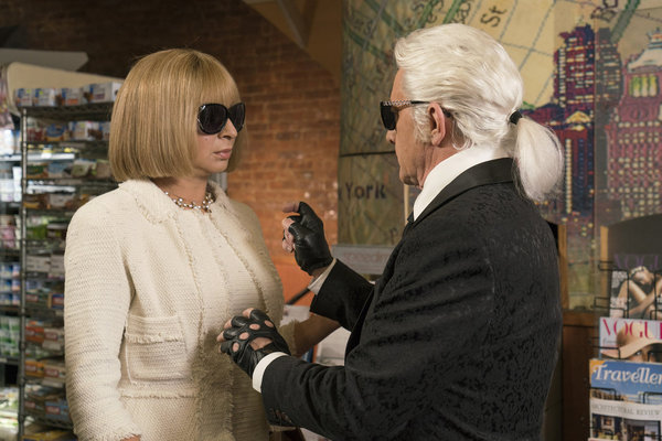 """MAYA & MARTY -- Episode 101 -- Pictured: (l-r) Maya Rudolph as Anna Wintour, Martin Short as Karl Lagerfeld during the """"Anna Wintour: My NY"""" sketch on May 31, 2016 -- (Photo by: Barbara Nitke/NBC)"""