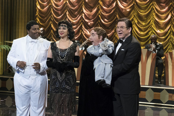 "MAYA & MARTY -- ""Episode 102"" -- Pictured: (l-r) Kenan Thompson as Manny Malodor, Maya Rudolph as Miranda Mallomar, Martin Short as Jasper, Steve Martin as Bob White during ""The Cocoa Club"" sketch on June 7, 2016  -- (Photo by: Virginia Sherwood/NBC)"