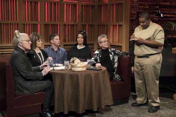 """MAYA & MARTY -- """"Episode 102"""" -- Pictured: (l-r) Steve Martin, Tina Fey as Prostella, Mikey Day as Daniel, Maya Rudolph as Datricia, Martin Short as Itchard, Kenan Thompson during the """"Filthy Rich"""" sketch on June 7, 2016 -- (Photo by: Virginia Sherwood/NB"""