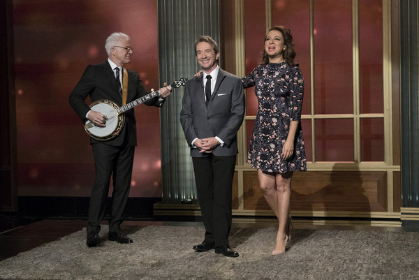 """MAYA & MARTY -- """"Episode 102"""" -- Pictured: (l-r) Steve Martin, Martin Short, Maya Rudolph during the """"Steve and Marty Song"""" on June 7, 2016 -- (Photo by: Virginia Sherwood/NBC)"""