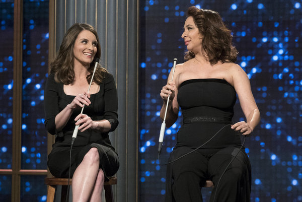 "MAYA & MARTY -- ""Episode 102"" -- Pictured: (l-r) Tina Fey, Maya Rudolph in the ""Tina & Maya Song"" on June 7, 2016  -- (Photo by: Virginia Sherwood/NBC)"