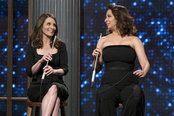 "MAYA & MARTY -- ""Episode 102"" -- Pictured: (l-r) Tina Fey, Maya Rudolph in the ""Tina & Maya Song"" on June 7, 2016  -- (Photo by: Virginia Sherwood/NBC)"