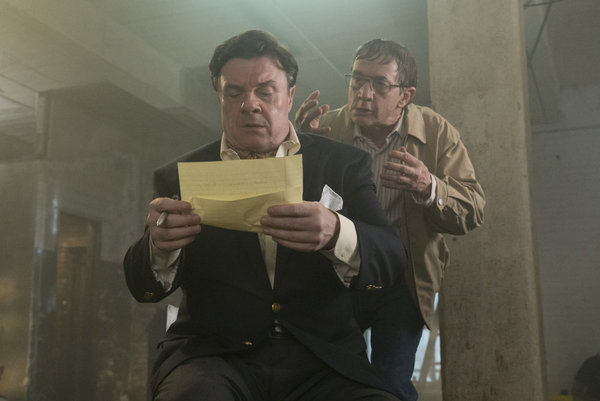 """MAYA & MARTY -- """"Kidnapped"""" -- Pictured: (l-r) Nathan Lane, Martin Short as Terry during the """"Kidnapped"""" sketch on June 7, 2016 -- (Photo by: Virginia Sherwood/NBC)"""