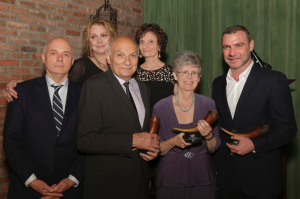 top row Elizabeth Ashley, Virginia Louloudes lower row: Gregory Mosher, Michael Kahn, Martha Tuck Rozett of The Michael Tuch Foundation, Liev Schreiber