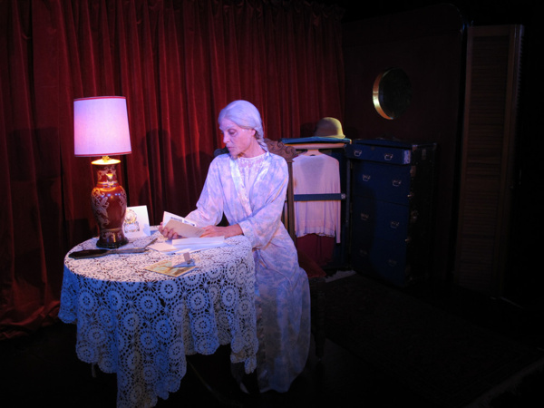 Roxanne Fay in Dream Child: The Trial of Alice in Wonderland at Bridge Street Theatre, Catskill. Photo by John Sowle