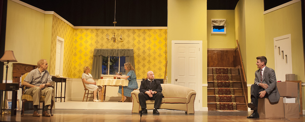 Robert Lunde as Russ, Rayah Martin as Betsy, Tina Huey as Bev, Justin Mullis as Jim, and Michael Reilly as Karl