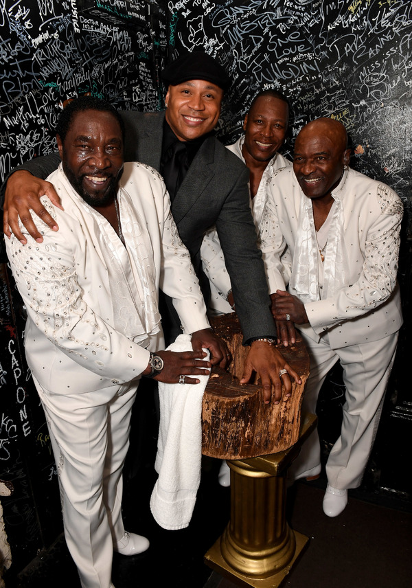 NEW YORK, NY - JUNE 13:  LL Cool J poses with Walter Williams, Eric Grant and Eddie Levert of The O'Jays during Prince Walk of Fame Induction and 2016 Spring Gala at The Apollo Theater on June 13, 2016 in New York City.  (Photo by Shahar Azran/WireImage)