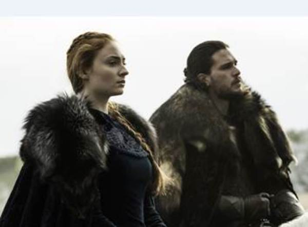 Sophie Turner as Sansa Stark and Kit Harington as Jon Snow Credit: Helen Sloan/HBO