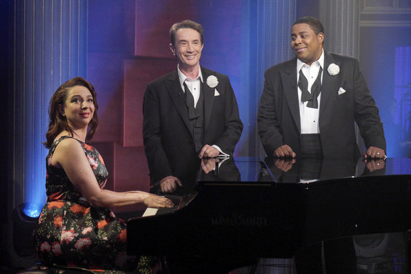 MAYA & MARTY -- Episode 104 -- Pictured: (l-r) Maya Rudolph, Martin Short, Kenan Thompson during Goodnights on June 21, 2016 -- (Photo by: Steve Fenn/NBC)