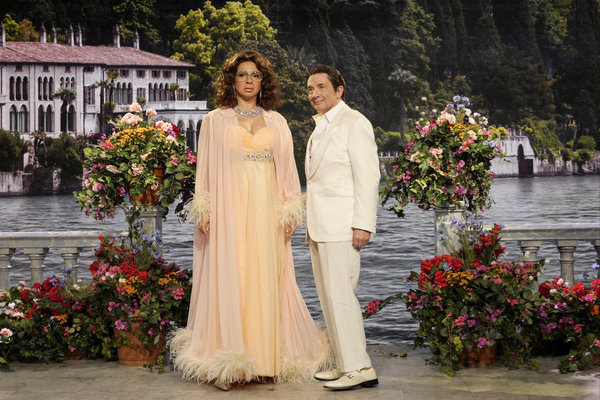 "MAYA & MARTY -- Episode 104 -- Pictured: (l-r) Maya Rudolph as Sophia Loren, Martin Short as Leonardo during the ""Sophia Loren"" sketch on June 21, 2016 -- (Photo by: Steve Fenn/NBC)"