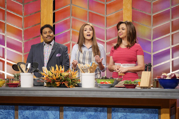 "MAYA & MARTY -- Episode 104 -- Pictured: (l-r) Kenan Thompson as Don Ramirez, Cecily  Strong as Carol McNally, Maya Rudolph as Jemina Camila Cantos during the ""Mañana Grande"" sketch on June 21, 2016 -- (Photo by: Steve Fenn/NBC)"