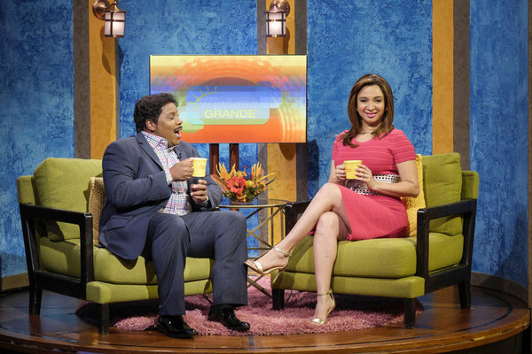 "MAYA & MARTY -- Episode 104 -- Pictured: (l-r) Kenan Thompson as Don Ramirez,  Maya Rudolph as Jemina Camila Cantos during the ""Mañana Grande"" sketch on June 21, 2016 -- (Photo by: Steve Fenn/NBC)"